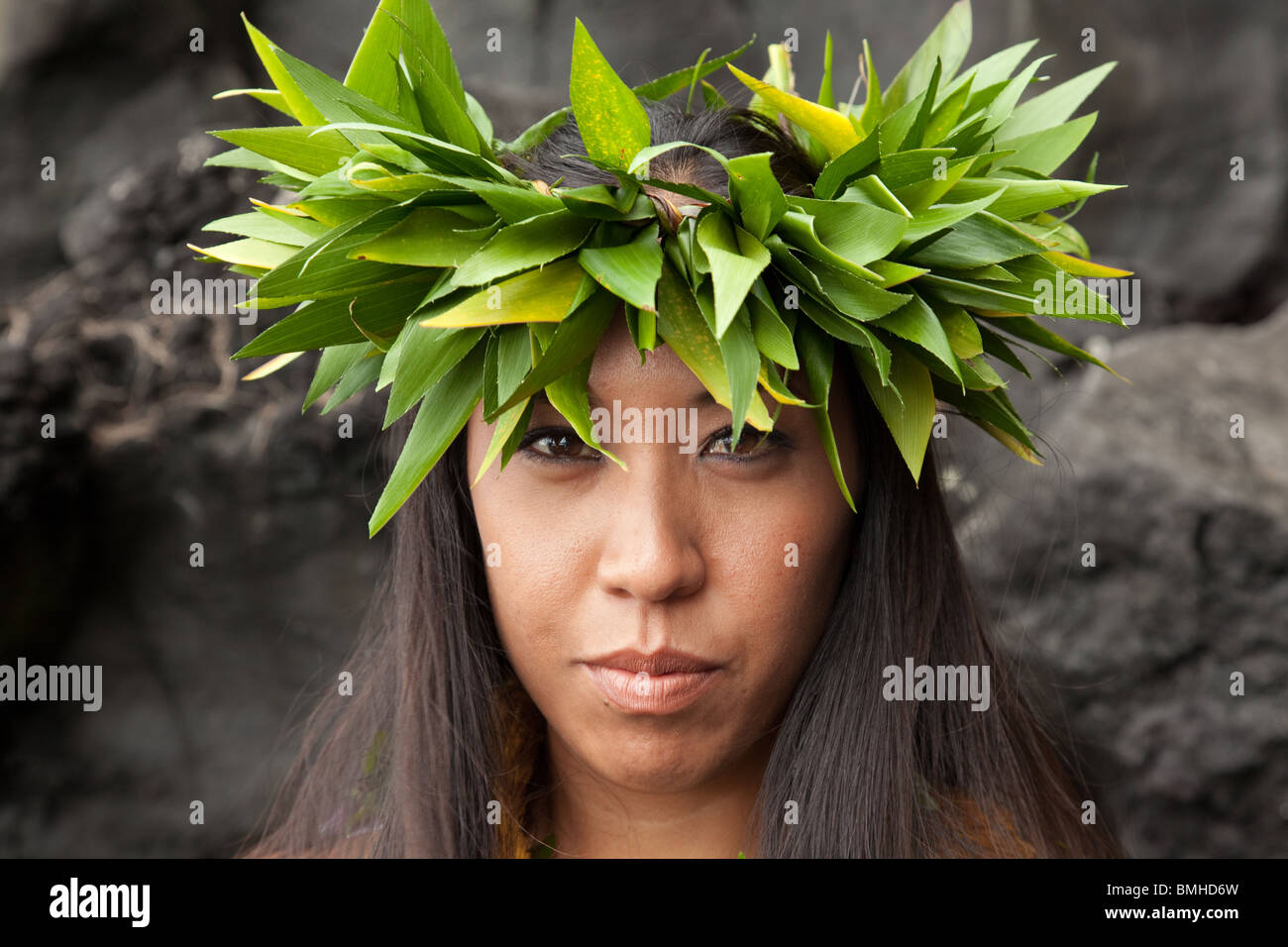Female Hawaiian hula dancer - Stock Image