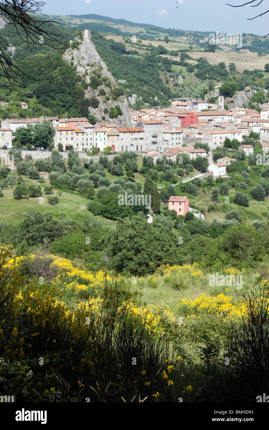 Town of Roccalbegna in the Maremma area of the Grosseto Province Tuscany Italy - Stock Image