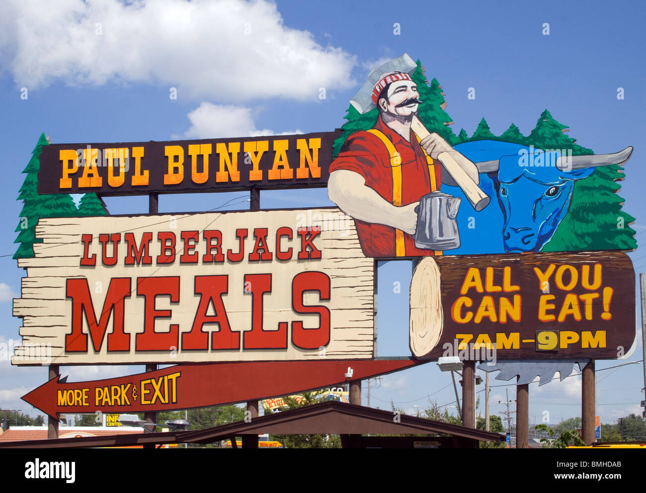 Paul Bunyan Lumberjack Meals at a restaurant in Wisconsin Dells - Stock Image