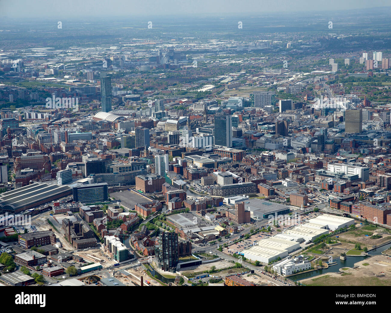 Manchester City Centre from the Air, North West England Stock Photo
