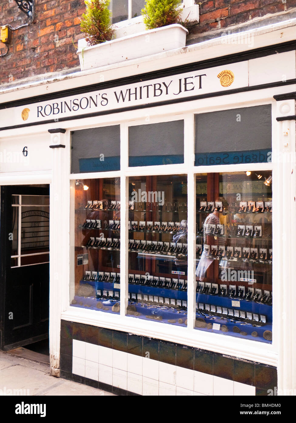 Shop selling traditional Whitby Jet in Whitby town centre, North Yorkshire England UK - Stock Image