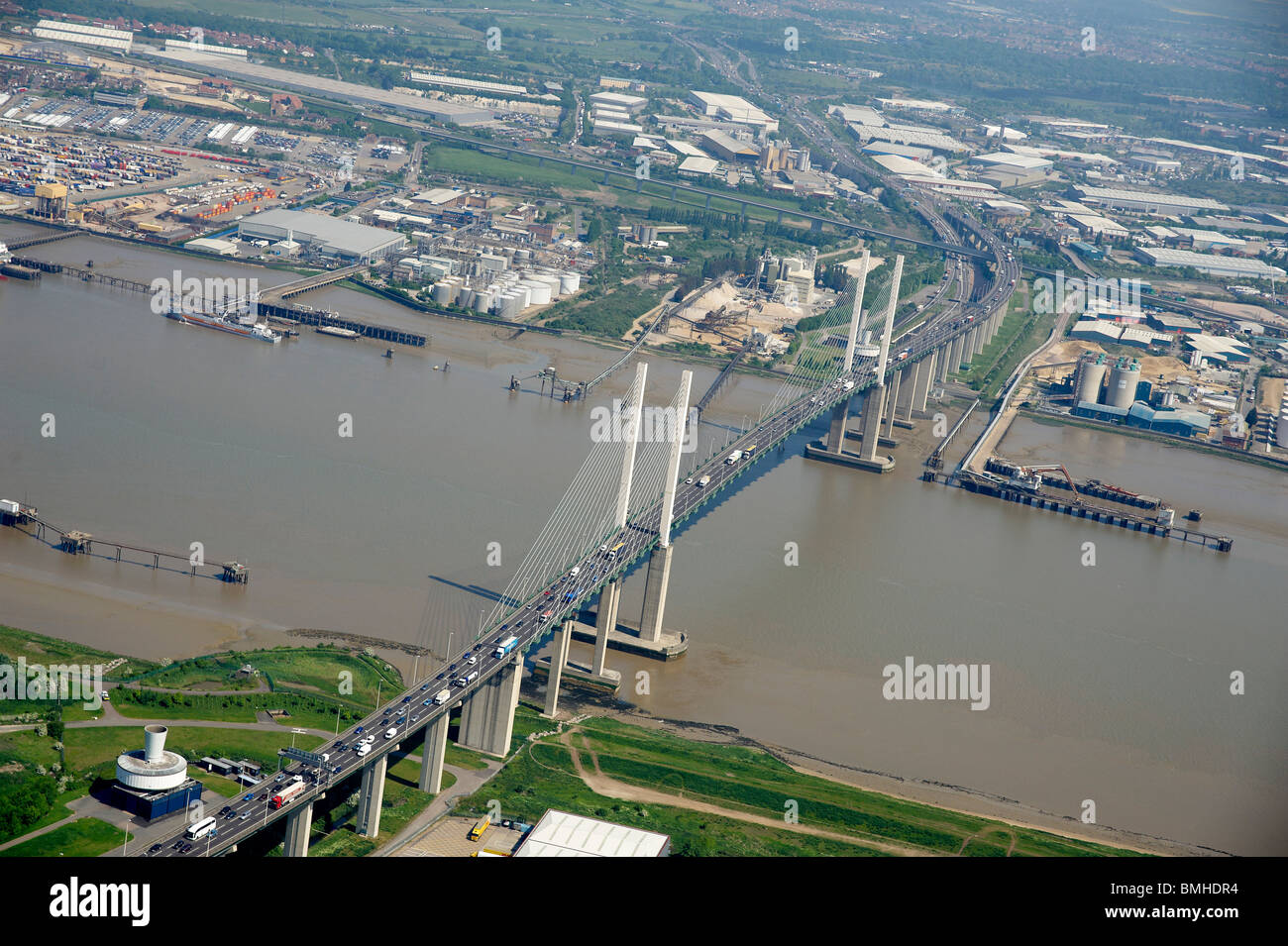 Dartford Crossing, Queen Elizabeth Bridge over the Thames, South East England Stock Photo