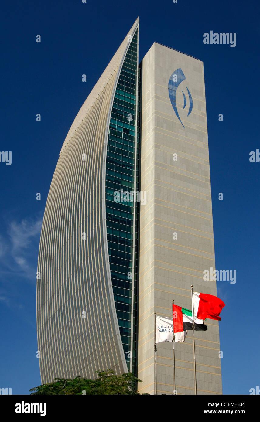 Headquarters of the National Bank of Dubai, NBD, in the Deira district, Dubai, United Arab Emirates - Stock Image