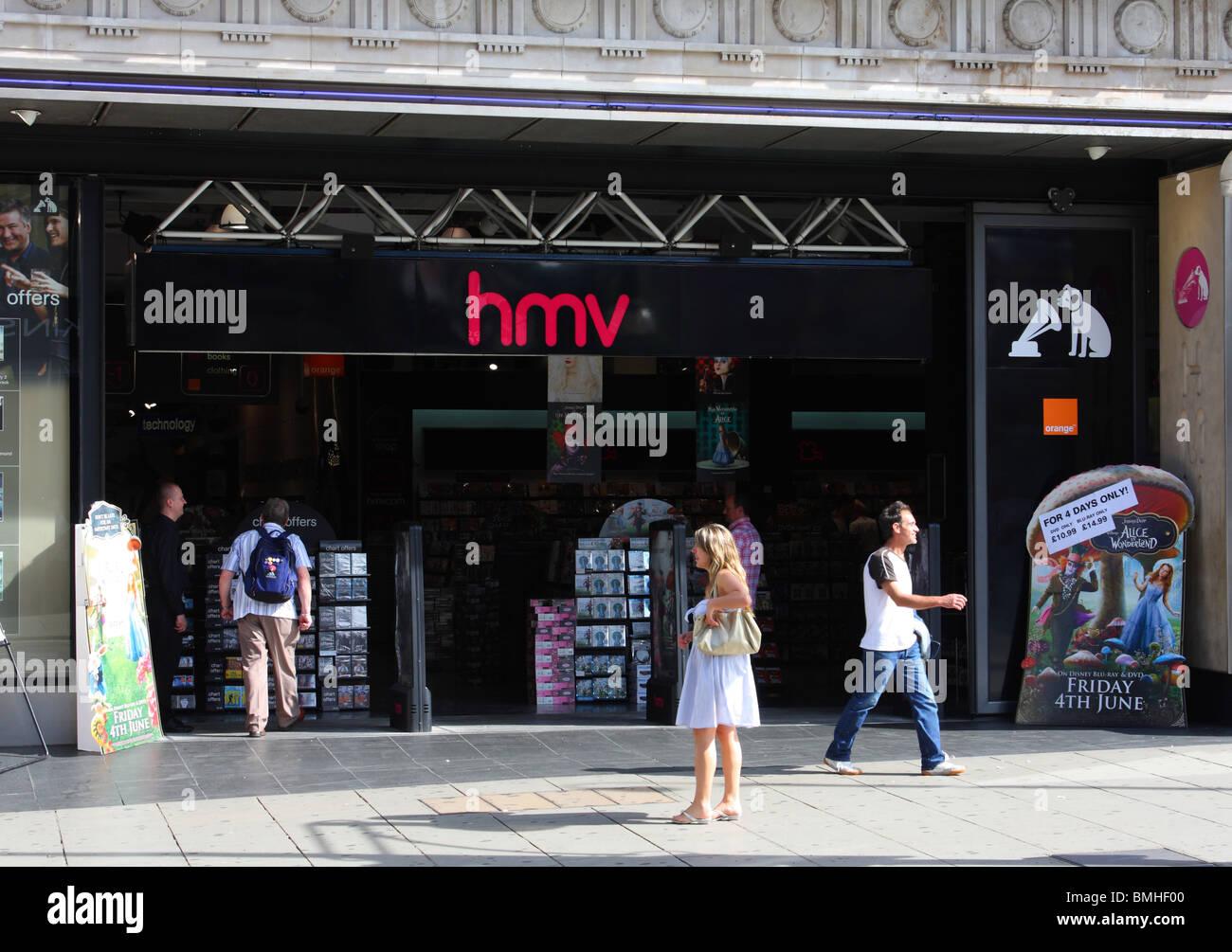 An HMV store on Oxford Street, London, England, U.K. - Stock Image