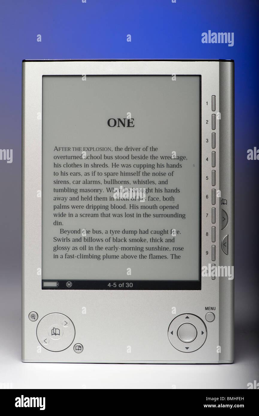 ebook reader studio shot with graduated background - Stock Image