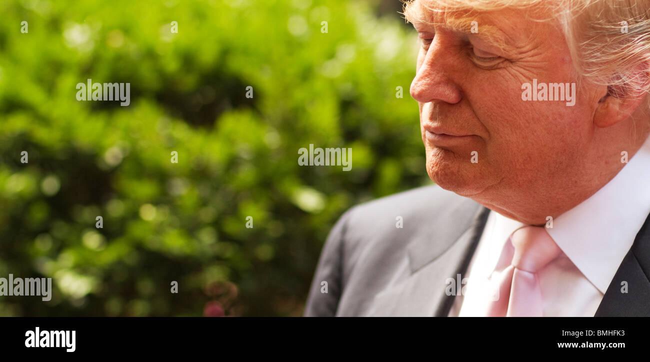 Donald Trump in front of Trump Tower 8 June 2010, Manhattan, New York City, New York, USA - Stock Image