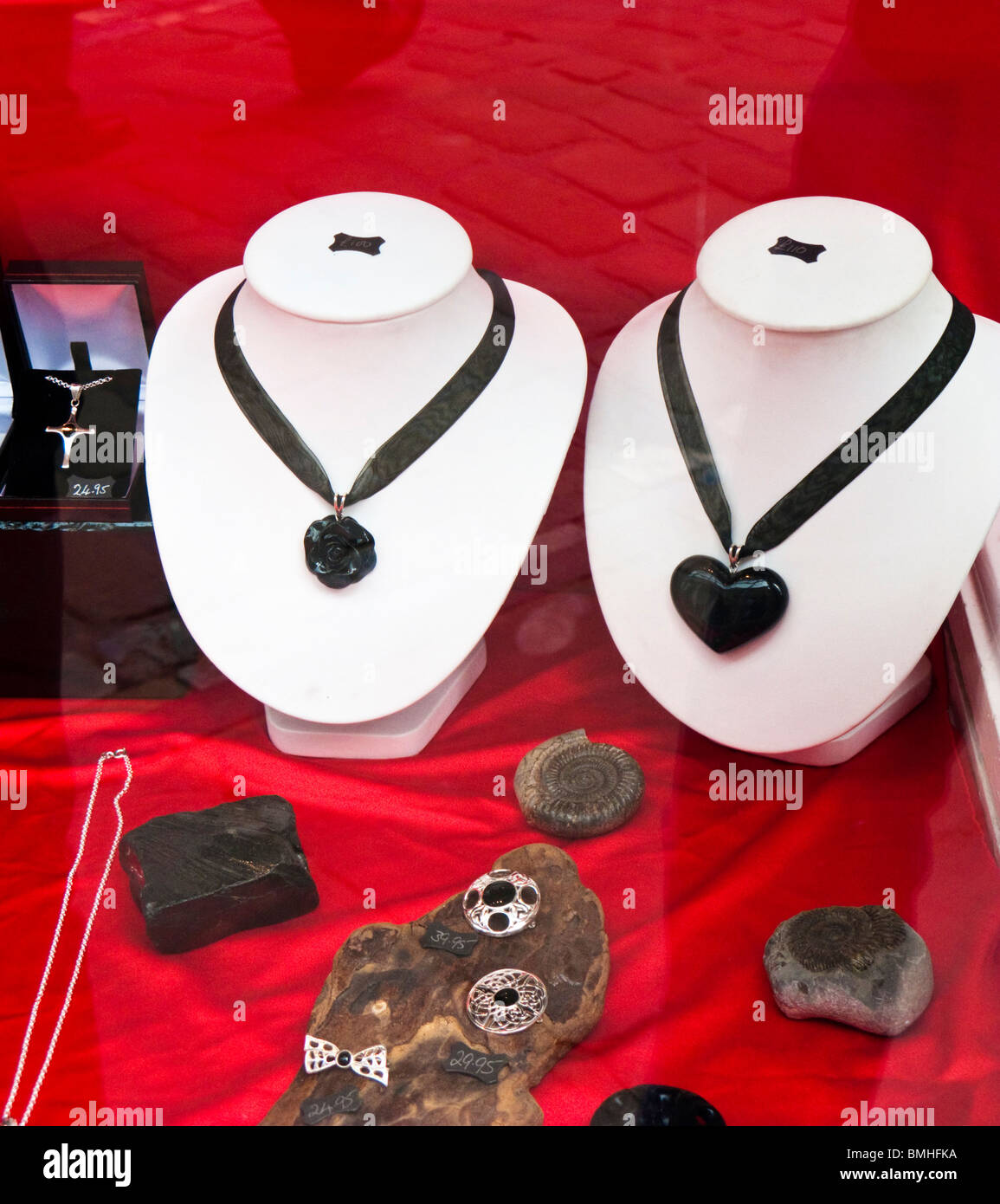 Window display of Whitby Jet jewellery, Whitby, North Yorkshire, England UK - Stock Image
