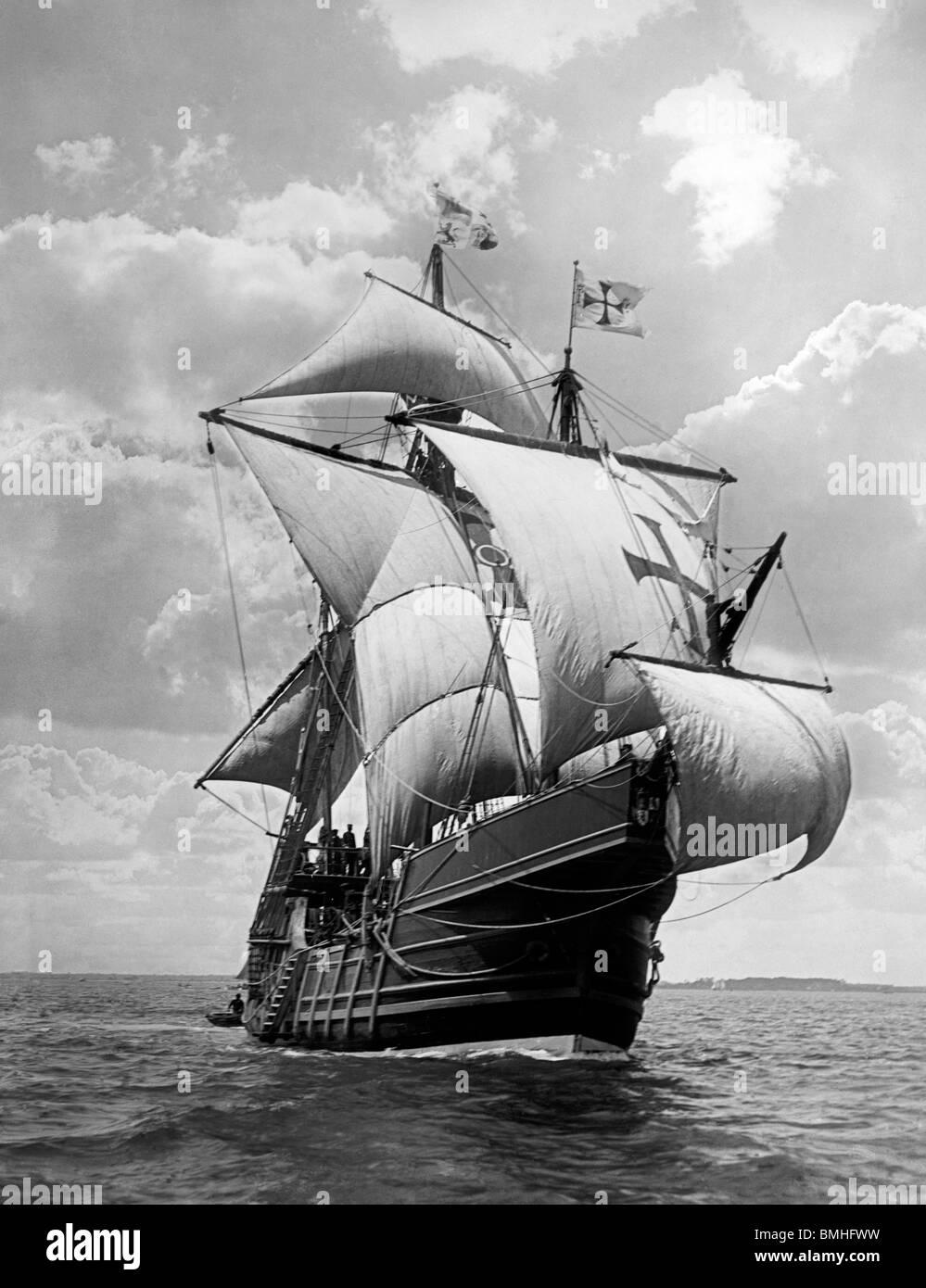 Spanish caravel Santa Maria - Replica of Columbus Ship that sailed to the New World , circa 1907 - Stock Image