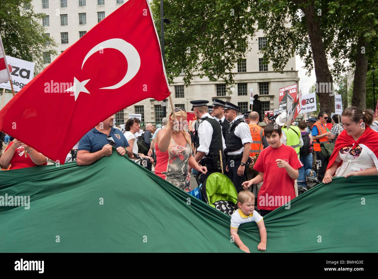 DEMO AGAINST ISRAEL.GAZA,AMBARGO,SANCTION TURKISH FLAG - Stock Image