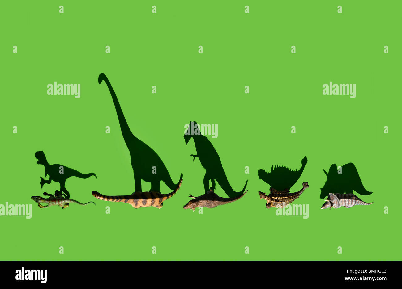 Overhead shot of some dinosaurs - Stock Image