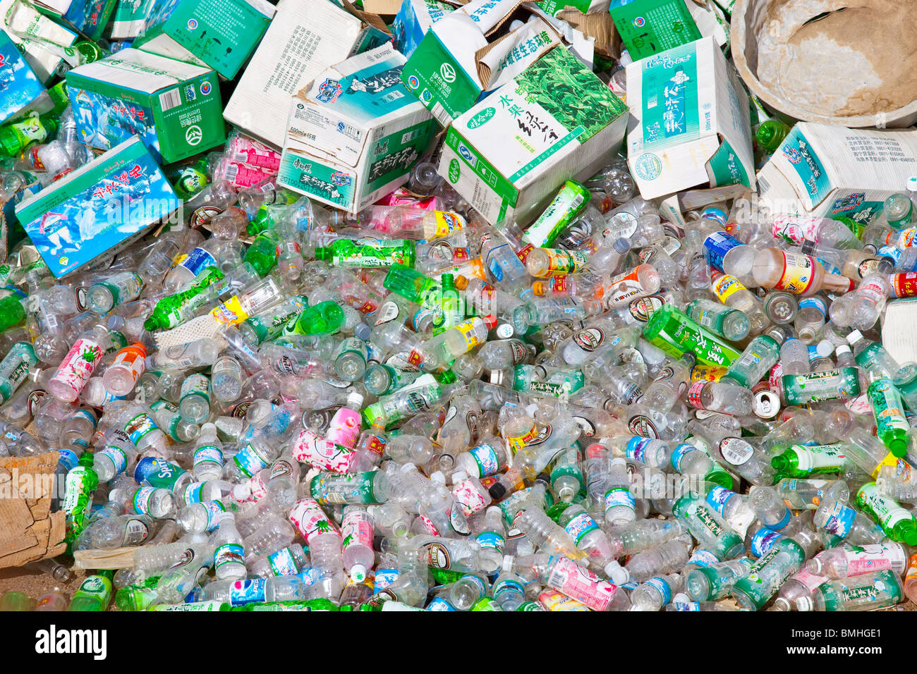 Plastic bottles gathered for recycling in Gyantse, Tibet Stock Photo