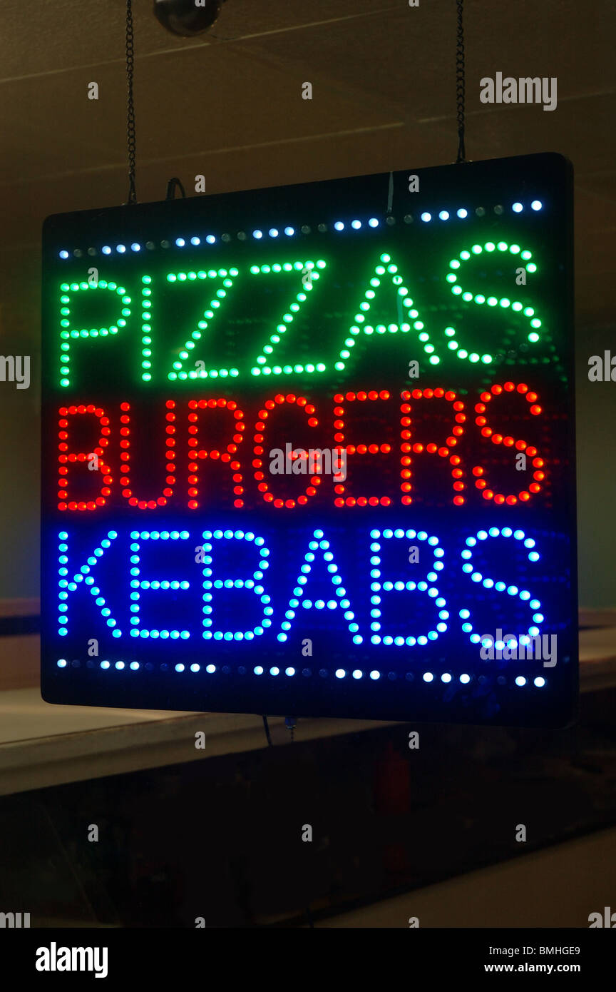 Pizzas Burgers Kebabs Sign On Take Away Scarborough