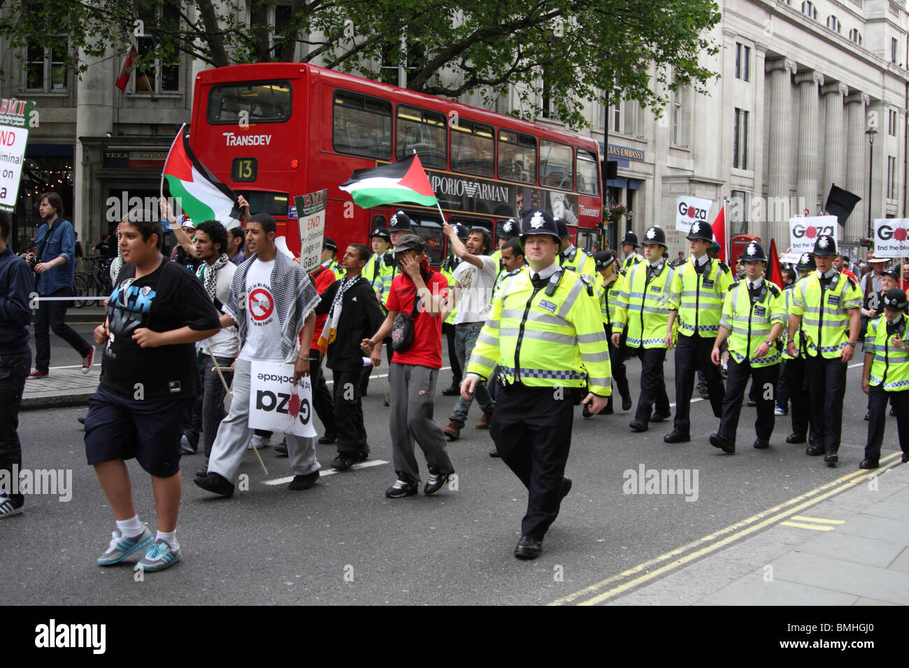 Demonstrators at the 'Freedom for Palestine' demonstration in London, England, U.K. - Stock Image