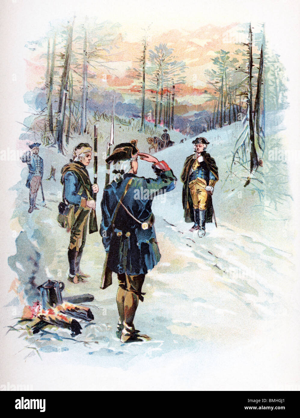 George Washington, the commander in chief of the Continental Army, is saluted by an officer at the camp at Valley - Stock Image
