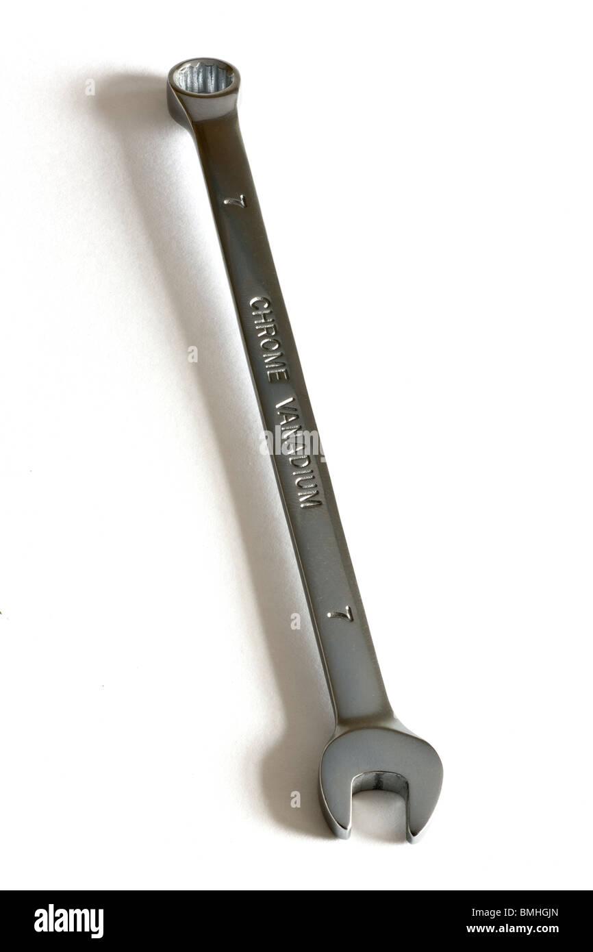 7mm Chrome vanadium open end ring spanner - Stock Image