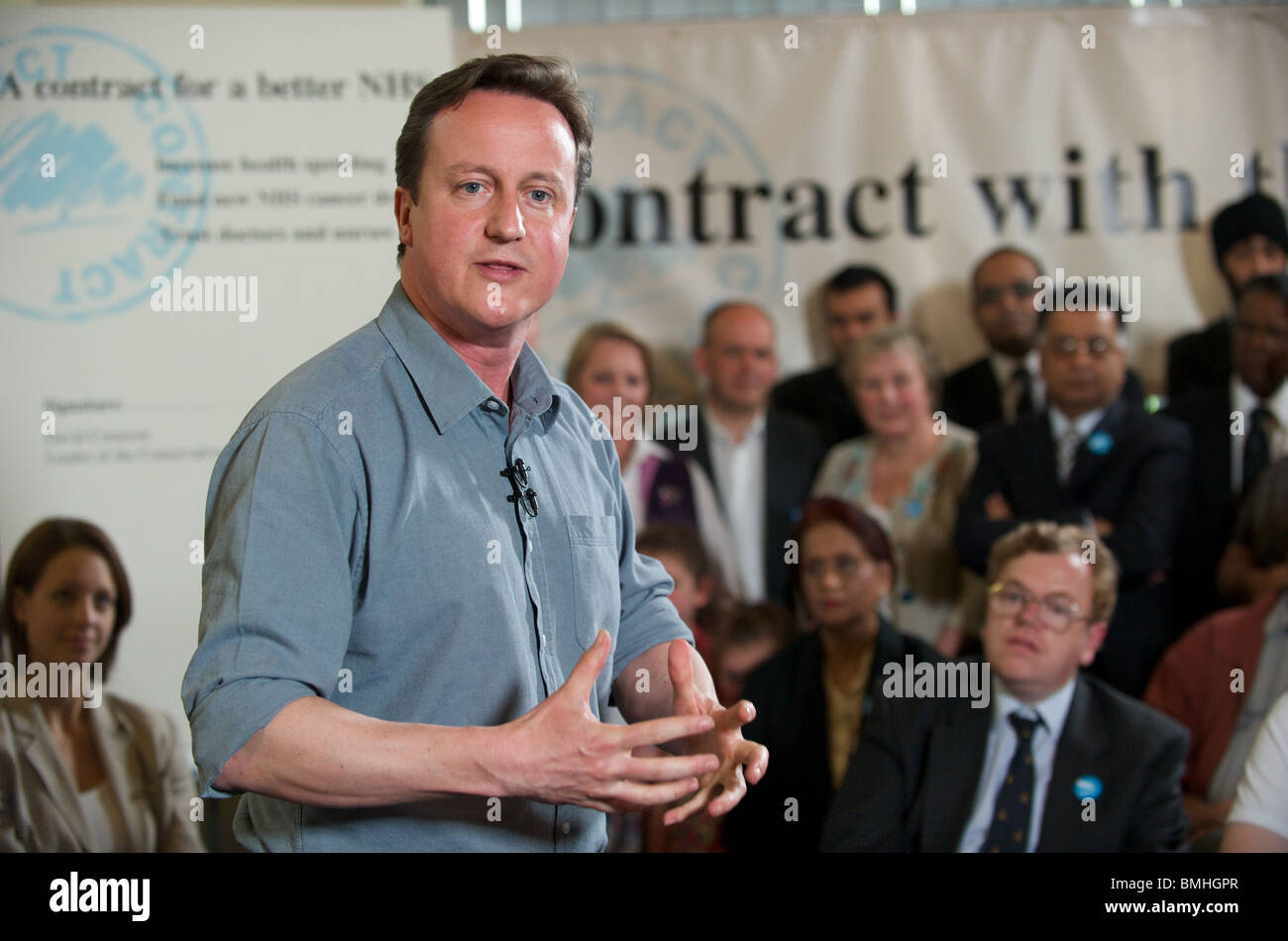 Britain's opposition Conservative Party leader, David Cameron, visits Rush Green Medical centre in Dagenham, Essex, UK. Stock Photo