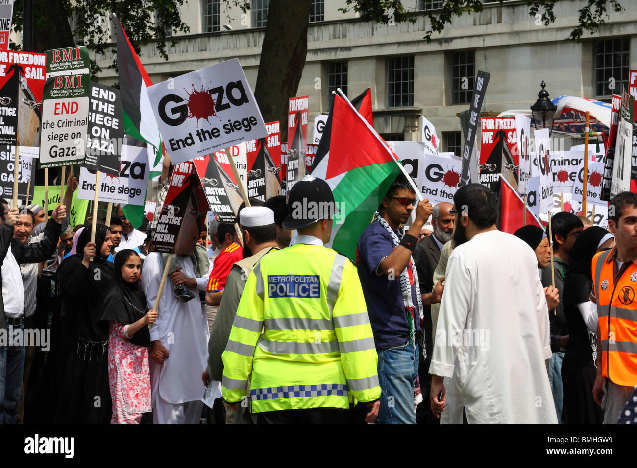 Demonstrators at the 'Freedom for Palestine' demonstration on Whitehall, Westminster, London, England, U.K. - Stock Image