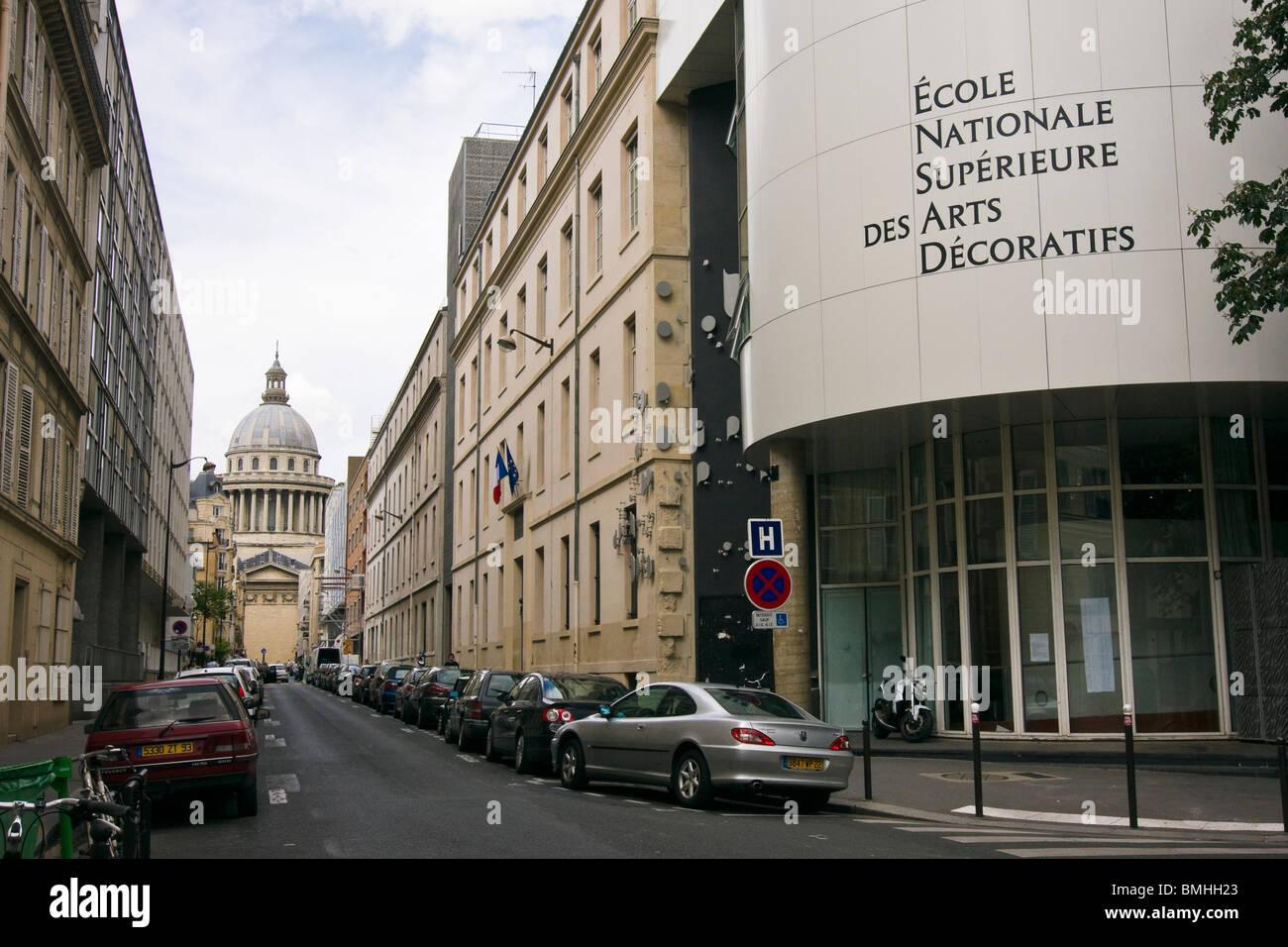 The Pantheon as seen from the École Nationale Supérieure des Arts Décoratifs, Paris, France Stock Photo