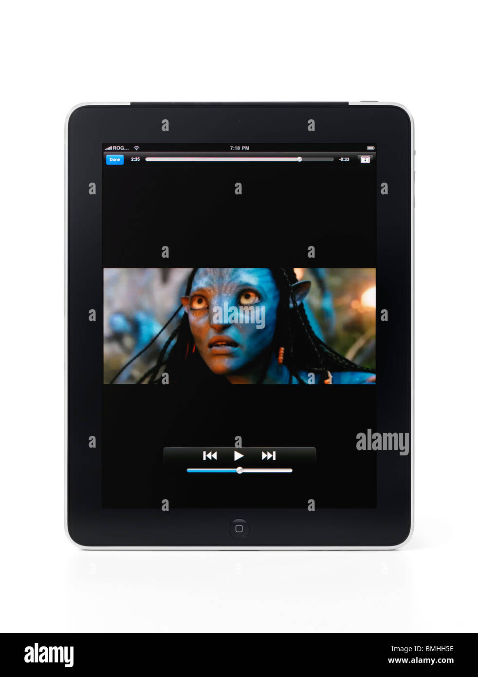 Avatar movie trailer playing on Apple iPad 3G tablet computer isolated on white background with clipping path - Stock Image