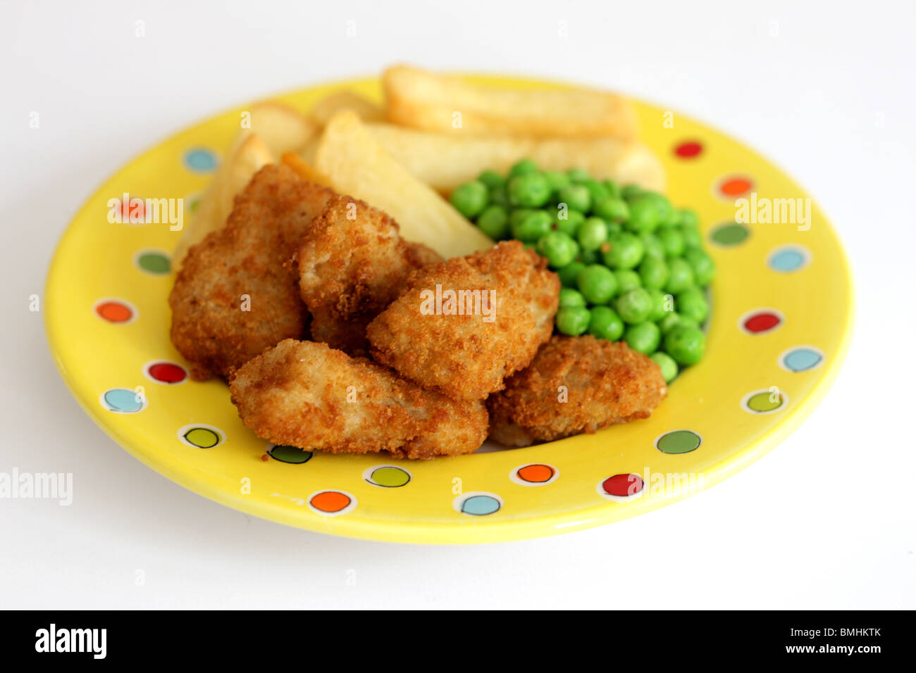 Scampi Peas and Chips Stock Photo