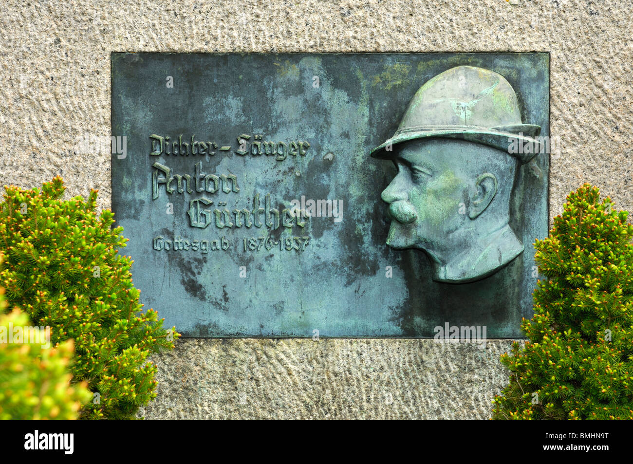 Grave of the singer and poet Anton Guenther in Bozi Dar, Czech Republic - Stock Image