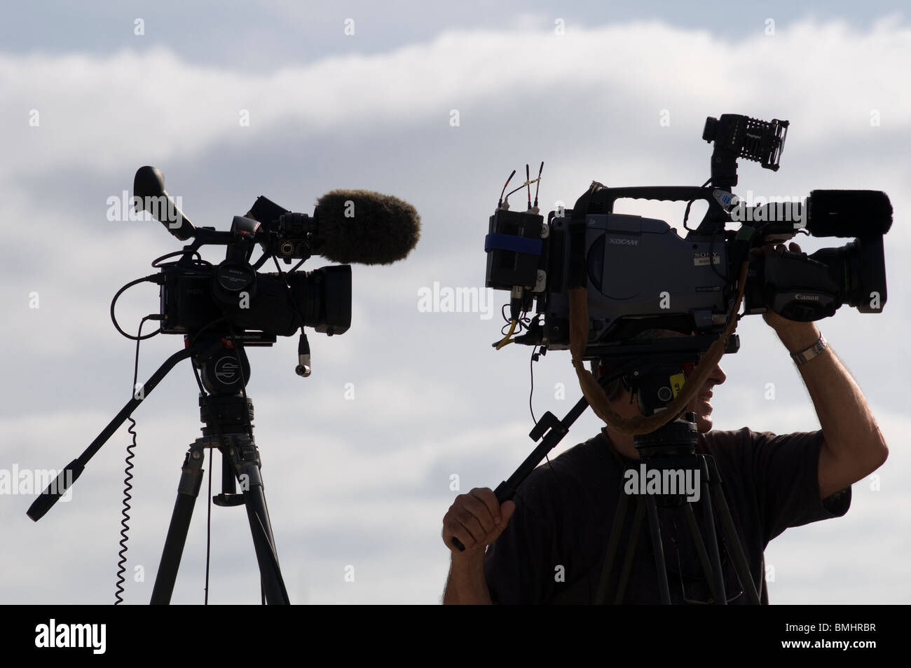 TV News cameraman in Israel - Stock Image