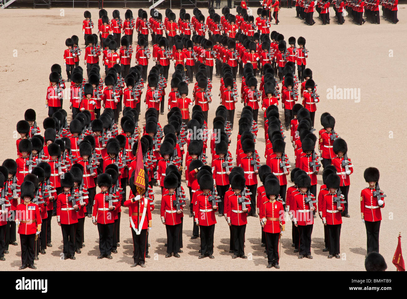 The Queen's Birthday Parade, also known as the Trooping of the Colour, held annually at Horse Guards Whitehall, - Stock Image
