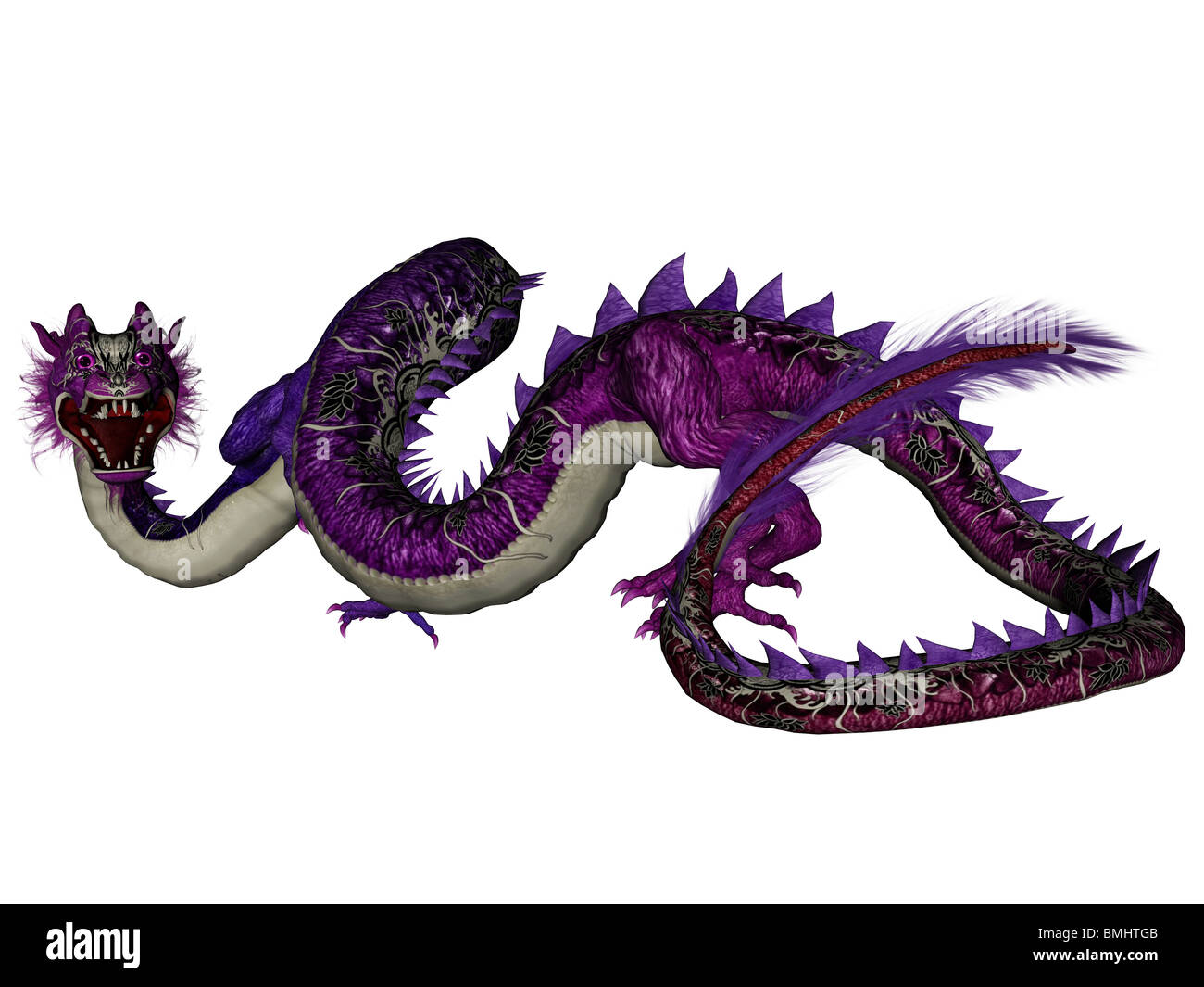 3D rendered chinese dragon isolated on white background - Stock Image