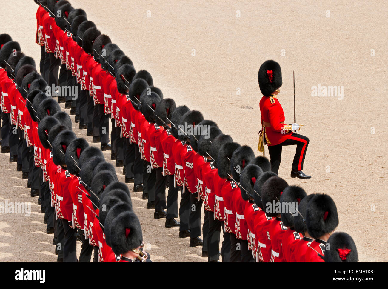 The Queen's Birthday Parade, also known as the Trooping of the Colour, held annually at Horse Guards Whitehall, Stock Photo