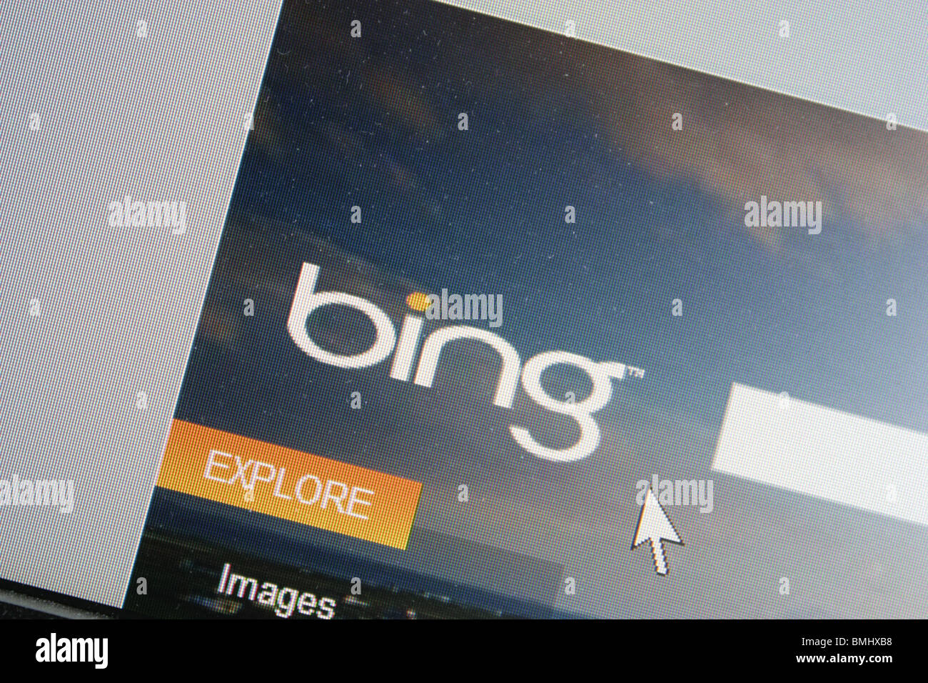 bing search engine computer screen shot - Stock Image