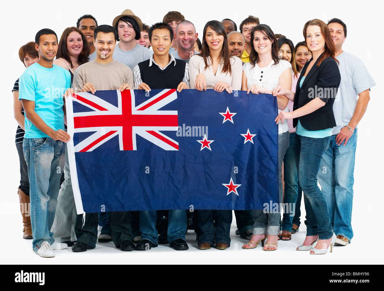 group of people holding Australian flag Stock Photo