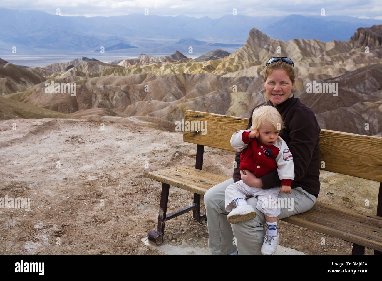 Mom and son at Zabriskie Point, Death Valley National Park, California. - Stock Image