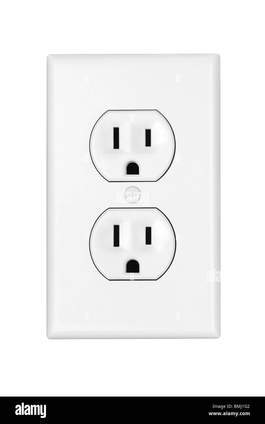 An American 110 volt three prong electrical power outlet isolated on white. - Stock Image