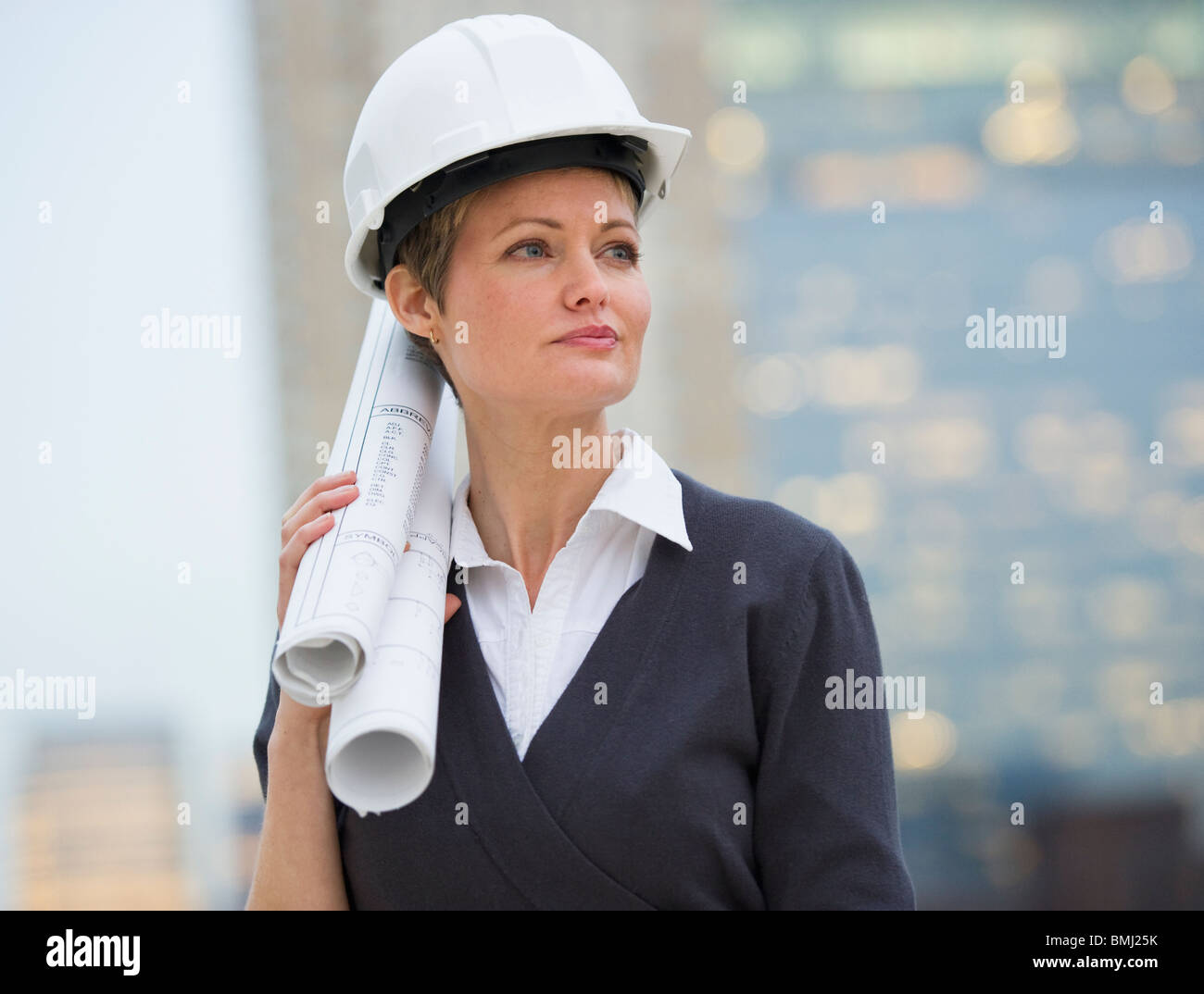 Female architect on construction site Stock Photo