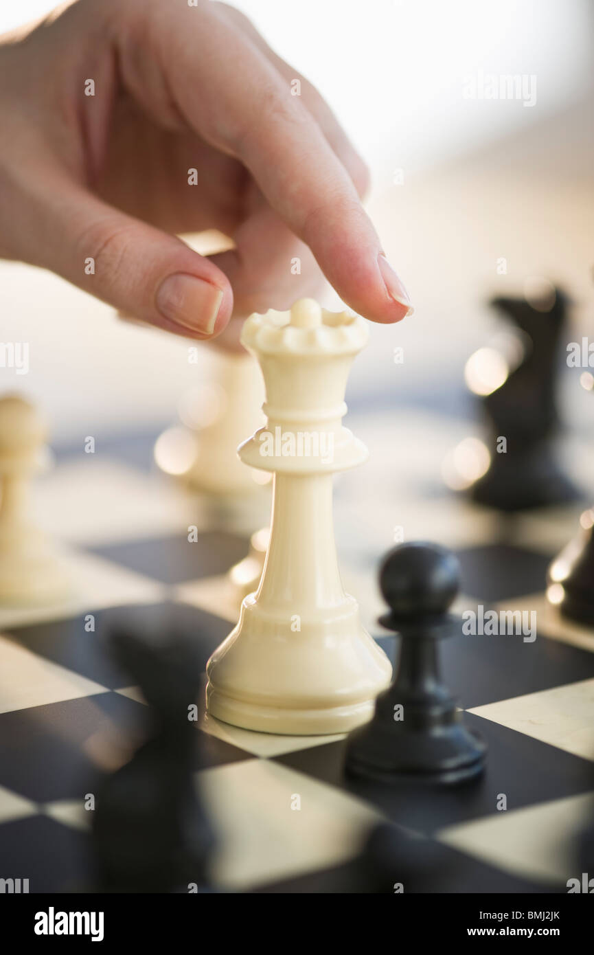 Playing game of chess - Stock Image