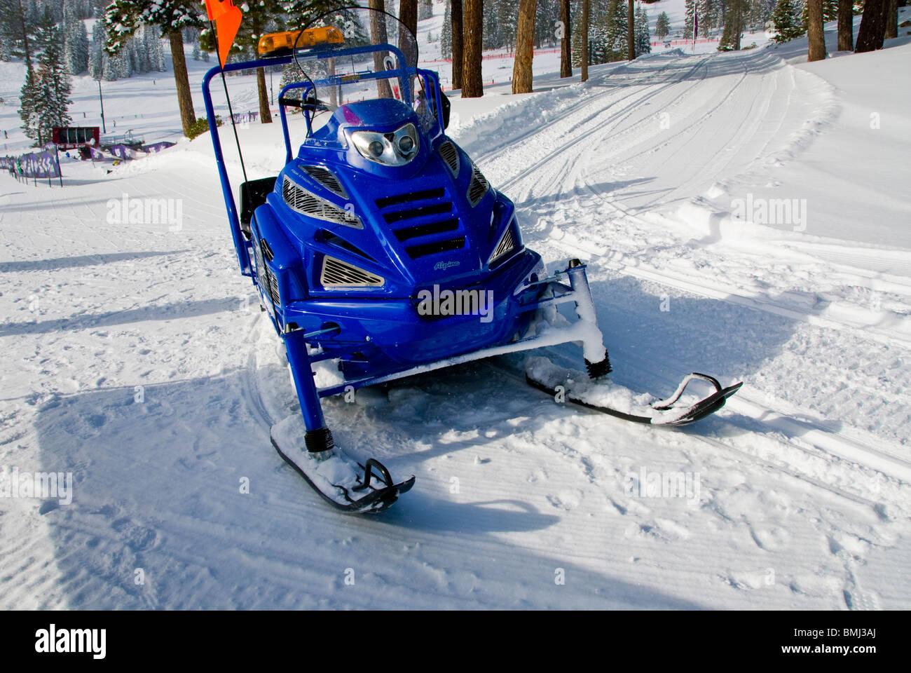 motorized snowmobile, Winter scene, North Lake Tahoe, California, USA Stock Photo