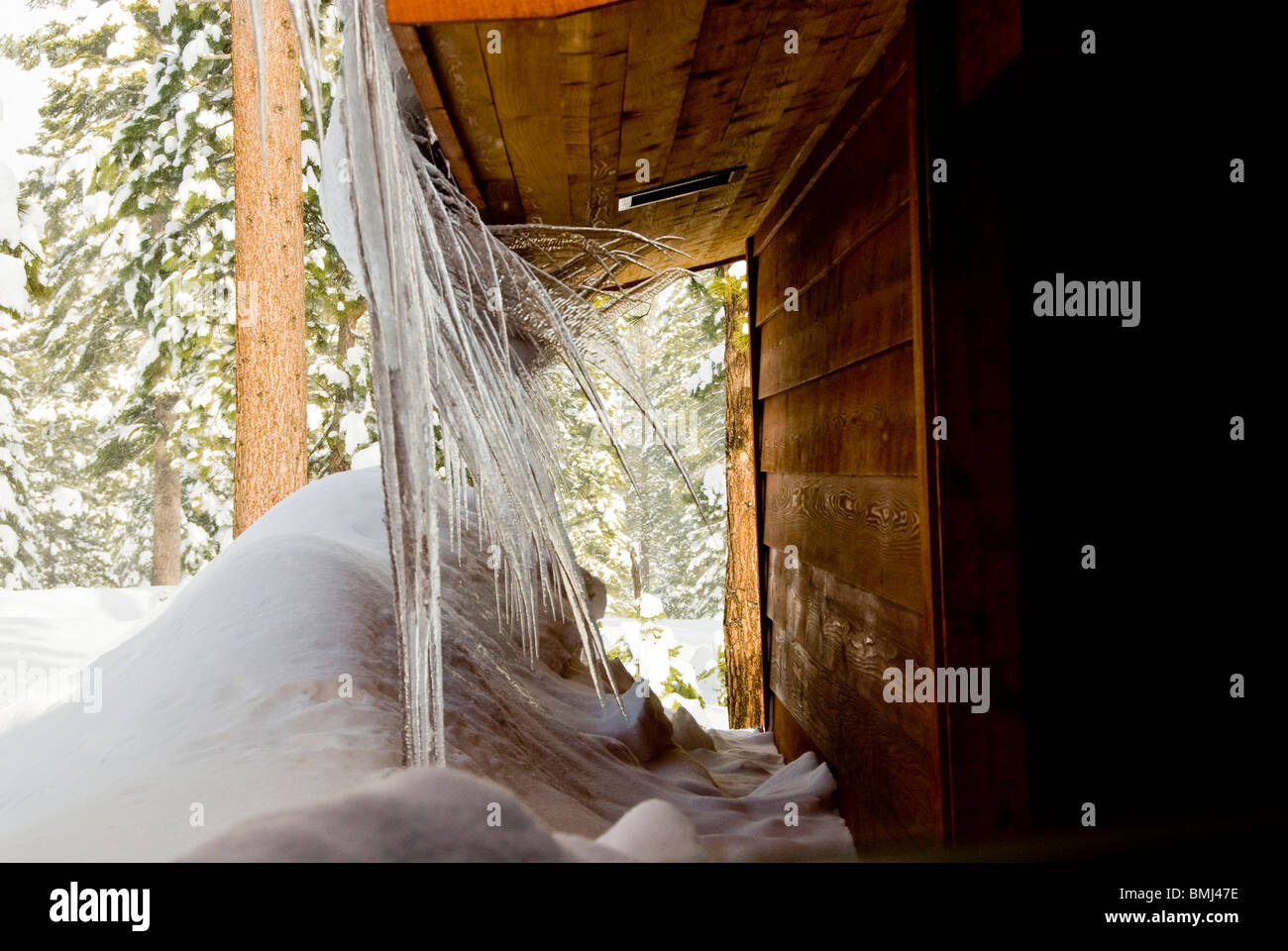 Icicles, Winter scene, near Truckee, North Lake Tahoe, California, USA - Stock Image