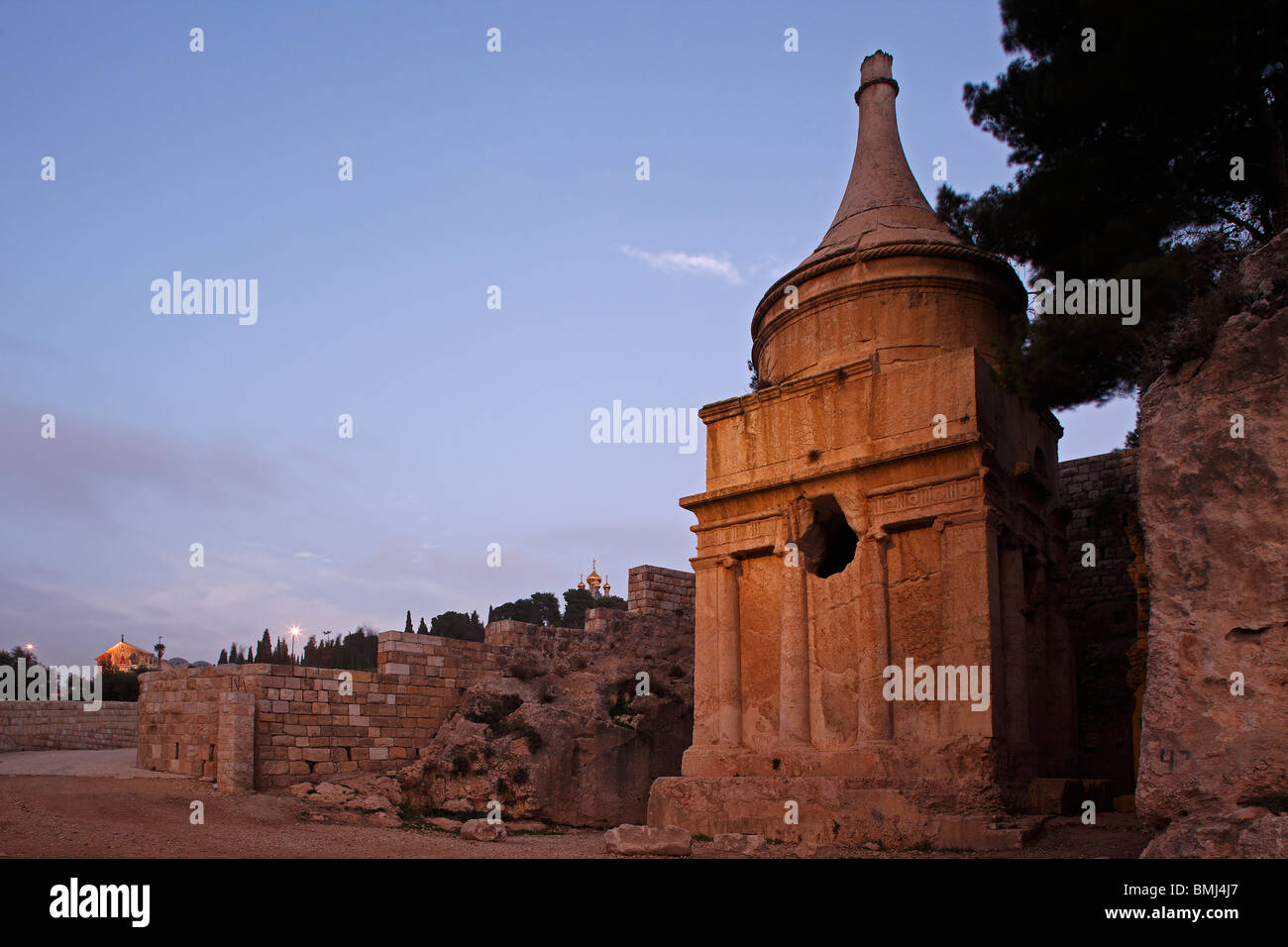 Israel,Jerusalem,Mount of Olives,Absalom's Pillars - Stock Image