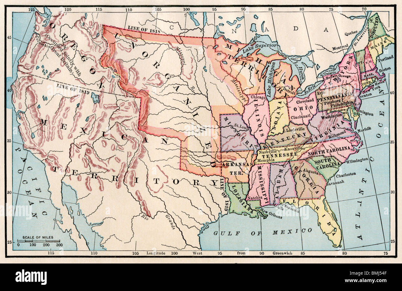 1830 Us Map.Map Of The United States In 1830 Color Lithograph Stock Photo