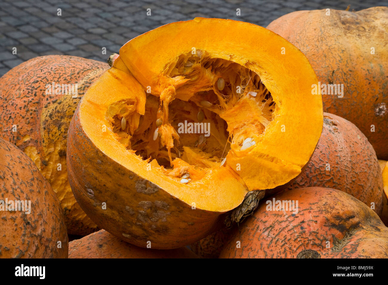 pumpkin is the fruit of the species Cucurbita pepo or Cucurbita mixta. It can refer to a specific variety of the - Stock Image