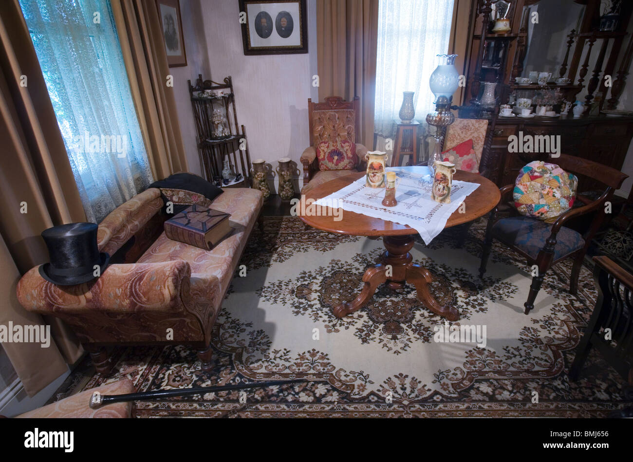 A nineteenth (XIX) century (1800s) living room with Victorian details, Auckland, New Zealand - Stock Image