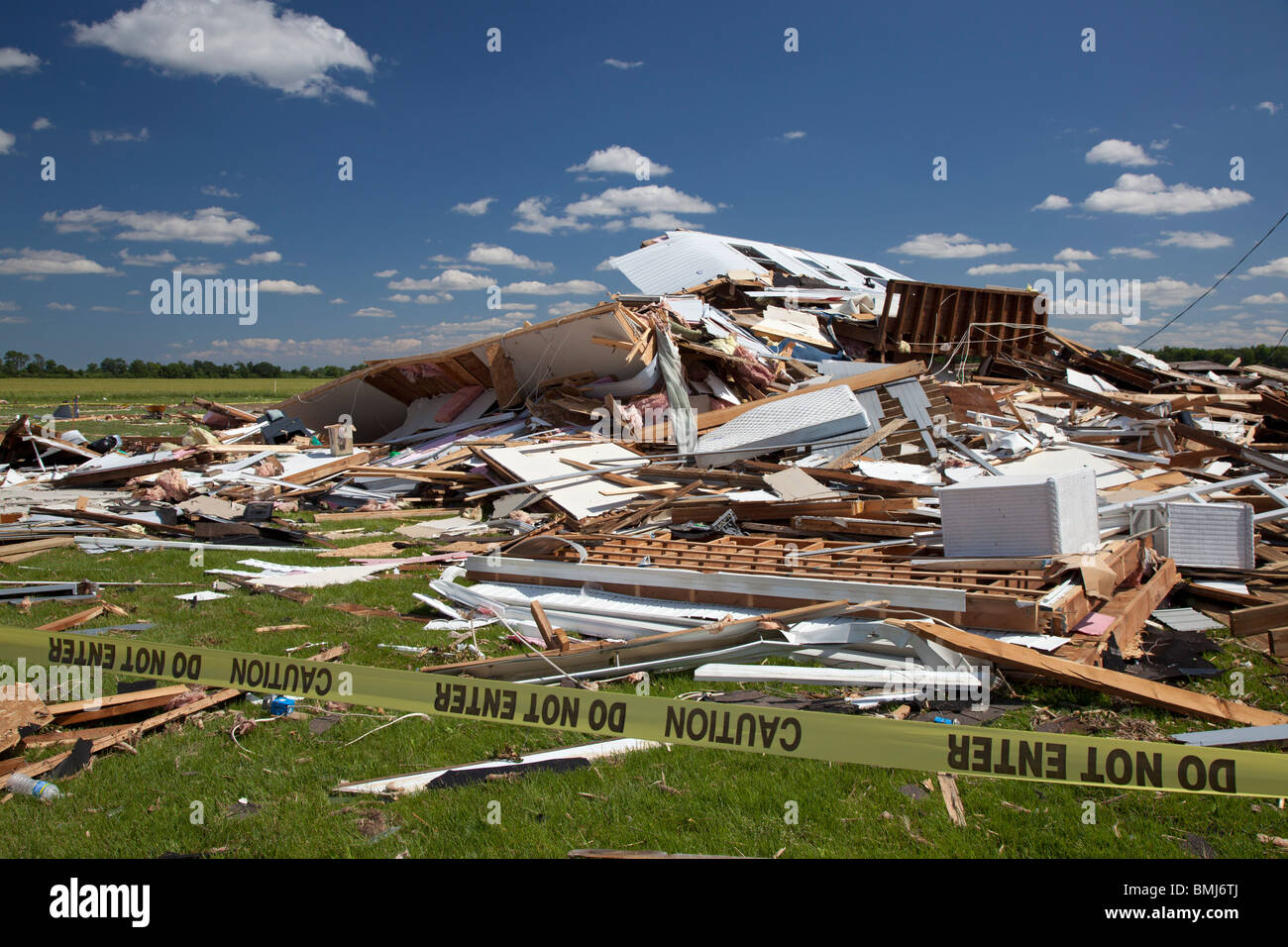 Dundee, Michigan - A house destroyed by a tornado. - Stock Image