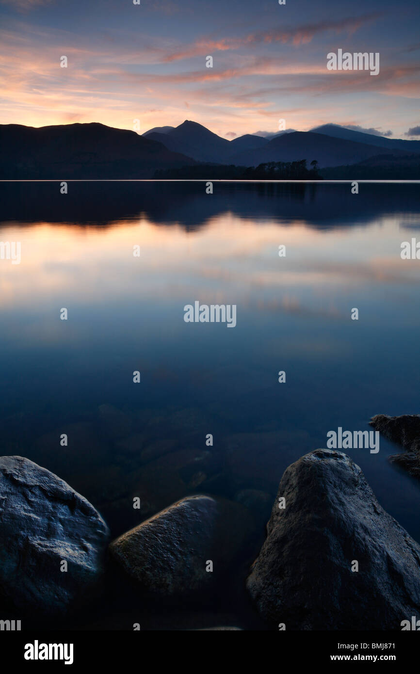 Twilight across Derwent Water near Keswick in the English Lake District, Cumbria, England - Stock Image