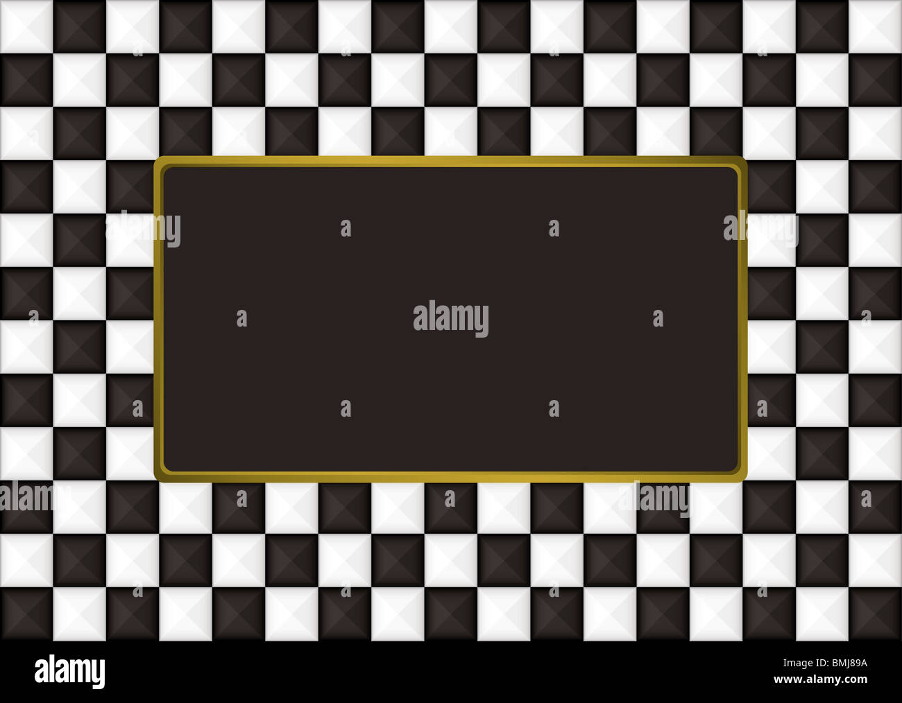 Black and white checkered picture frame with gold trim - Stock Image
