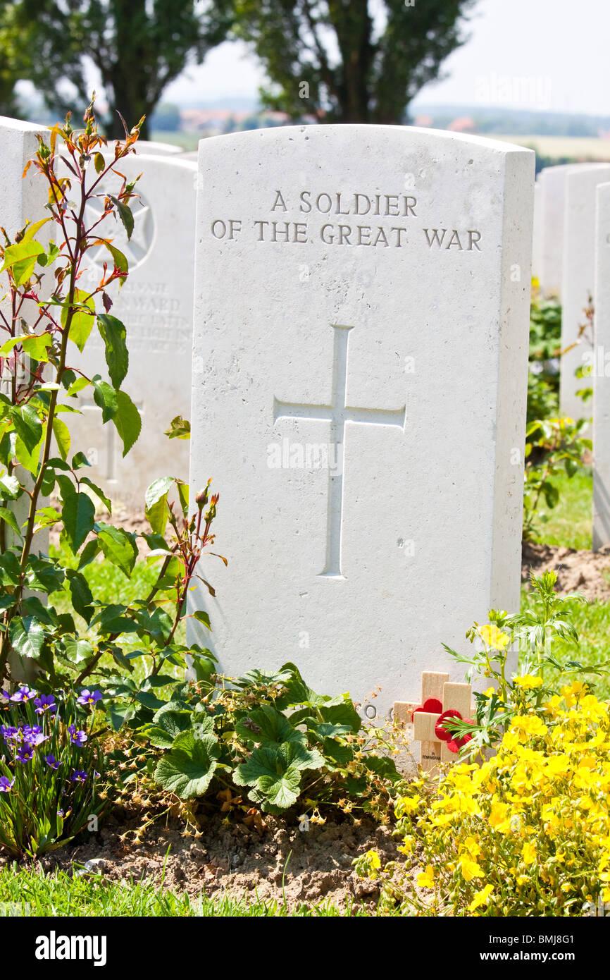 War Graves at Tyne Cot Cemetery Near Passchendaele Belgium - Stock Image