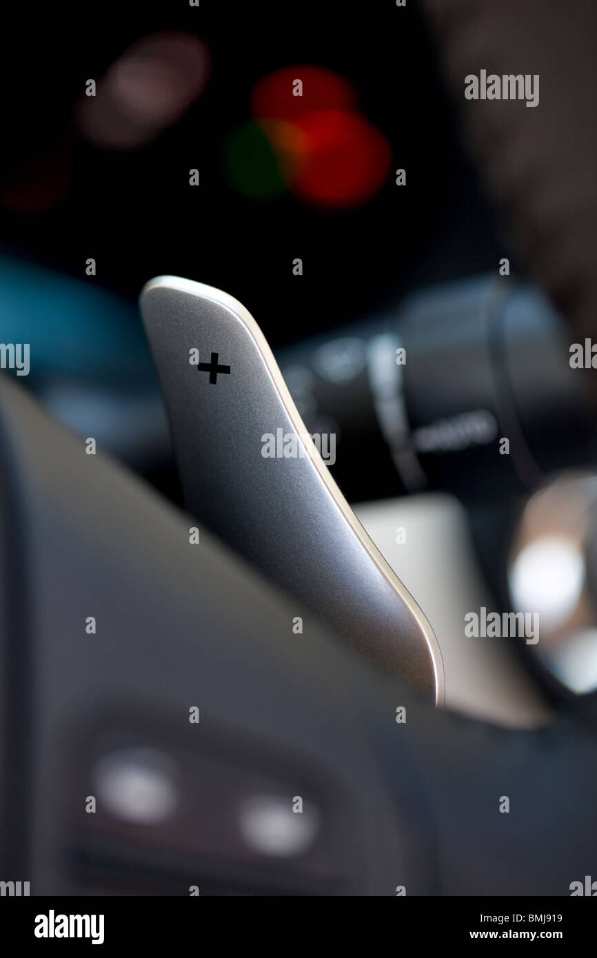car gear lever on the steering wheel - Stock Image