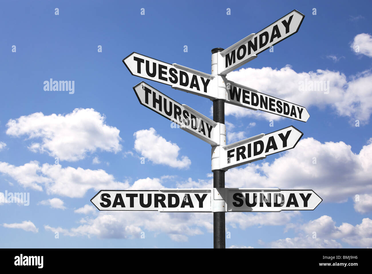Signpost showing the seven days of the week - Stock Image