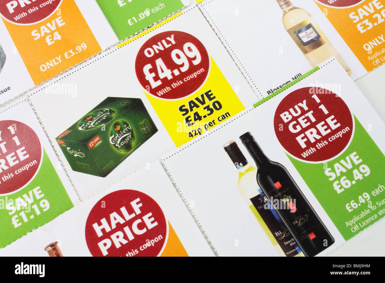 drinks promotion money saving coupons - Stock Image