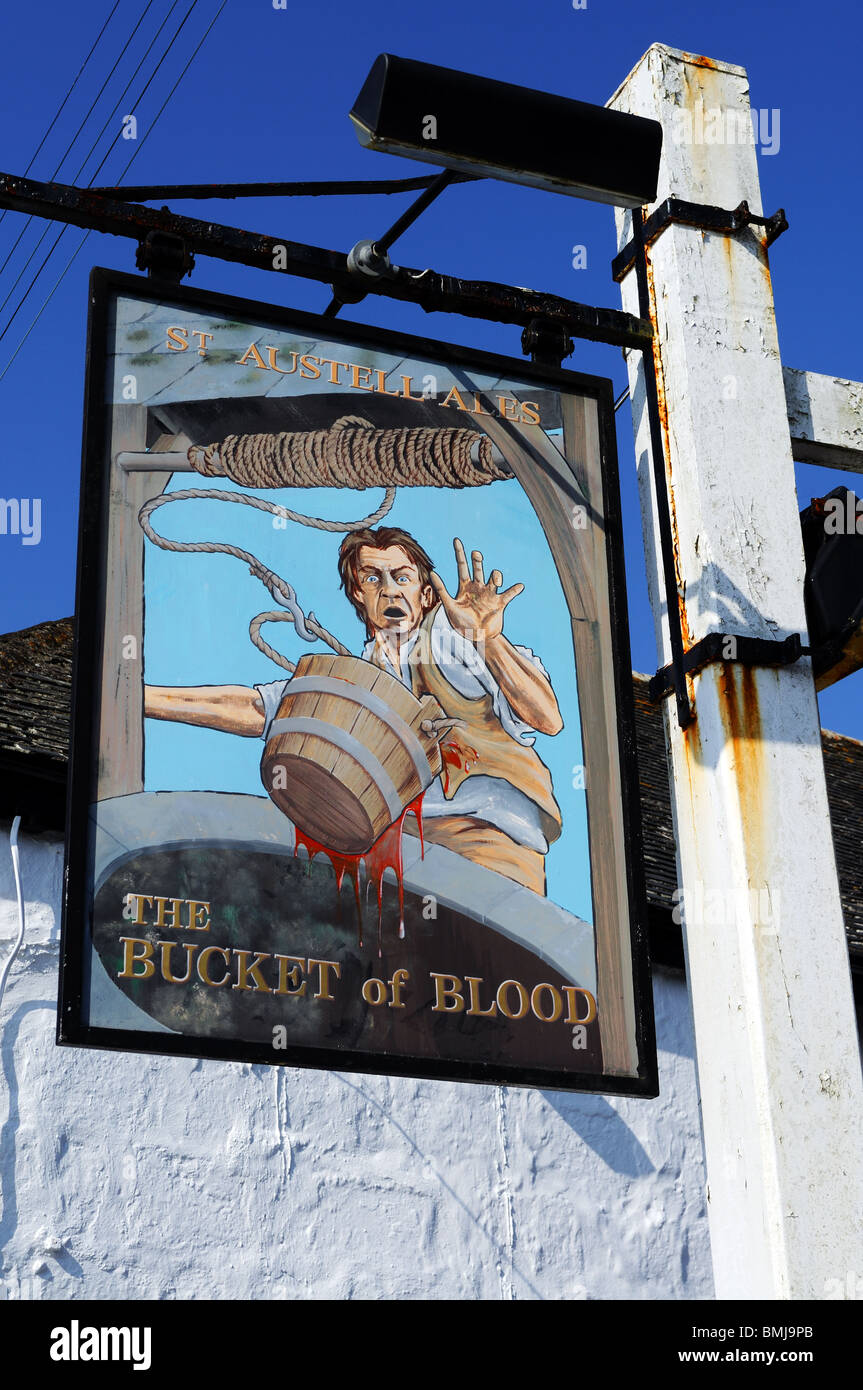 pub signpost  ' the bucket of blood ' near hayle in cornwall, uk - Stock Image