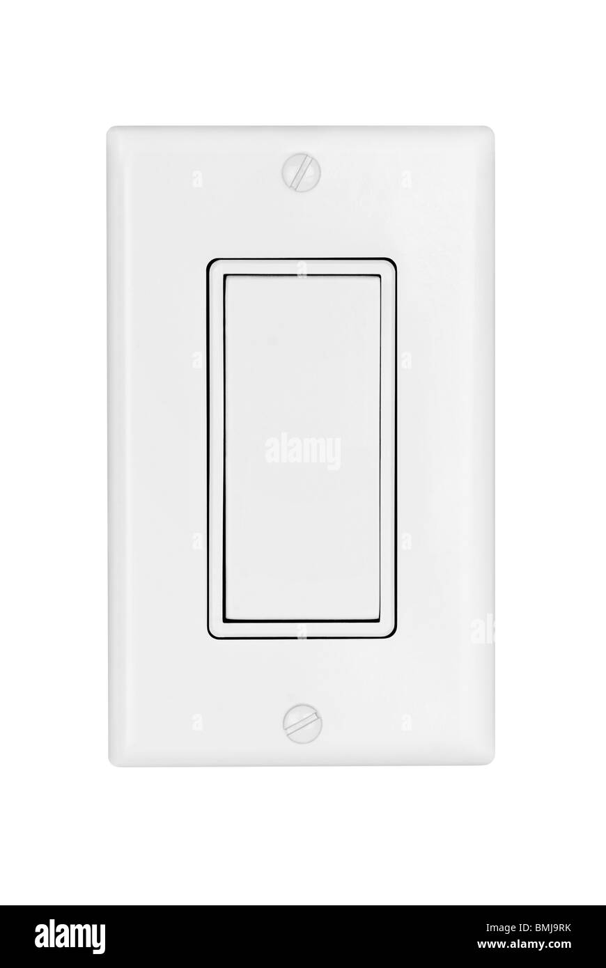 A modern electrical light switch isolated on white - Stock Image